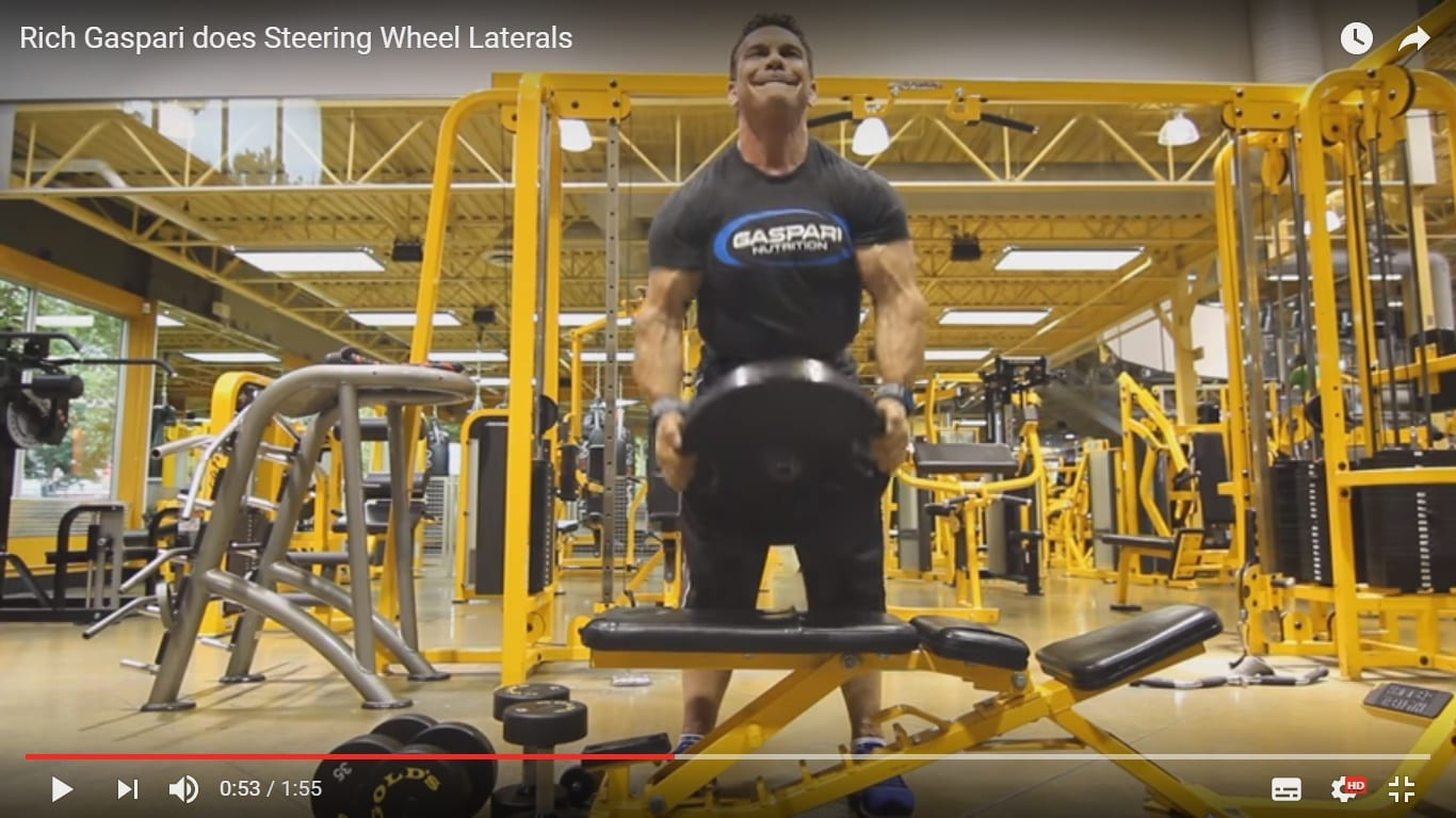 Exercise How To:  A Lateral Delt Movement – Rich Gaspari does Steering Wheel Laterals!
